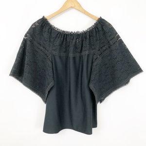 Vintage Black Lace Low Shoulder Blouse, Large